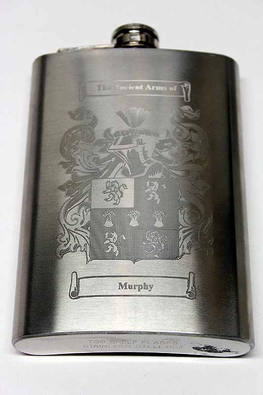 Coat Of Arms Personalized 8oz Irish Hip Flask At IrishShop