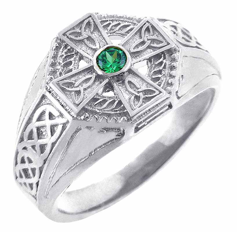 Celtic Ring - Men's White Gold Celtic Cross Ring with Emerald Stone Center