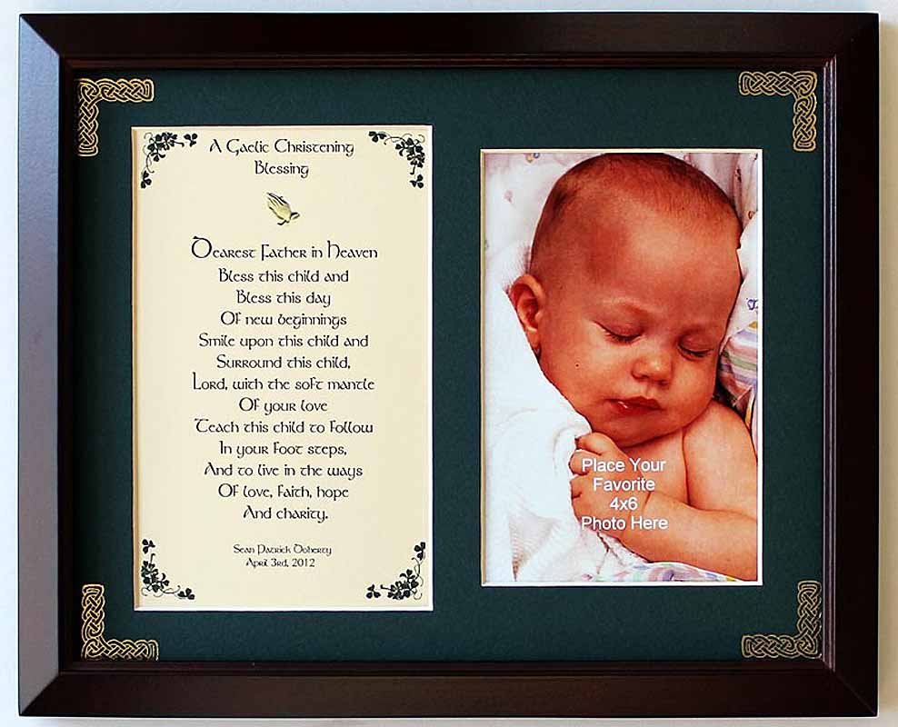 Personalized A Gaelic Christening Blessing Photo Verse Framed Print
