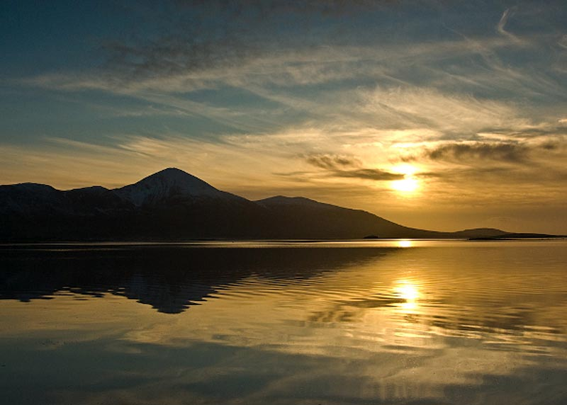 Croagh Patrick at sunset Photographic Print