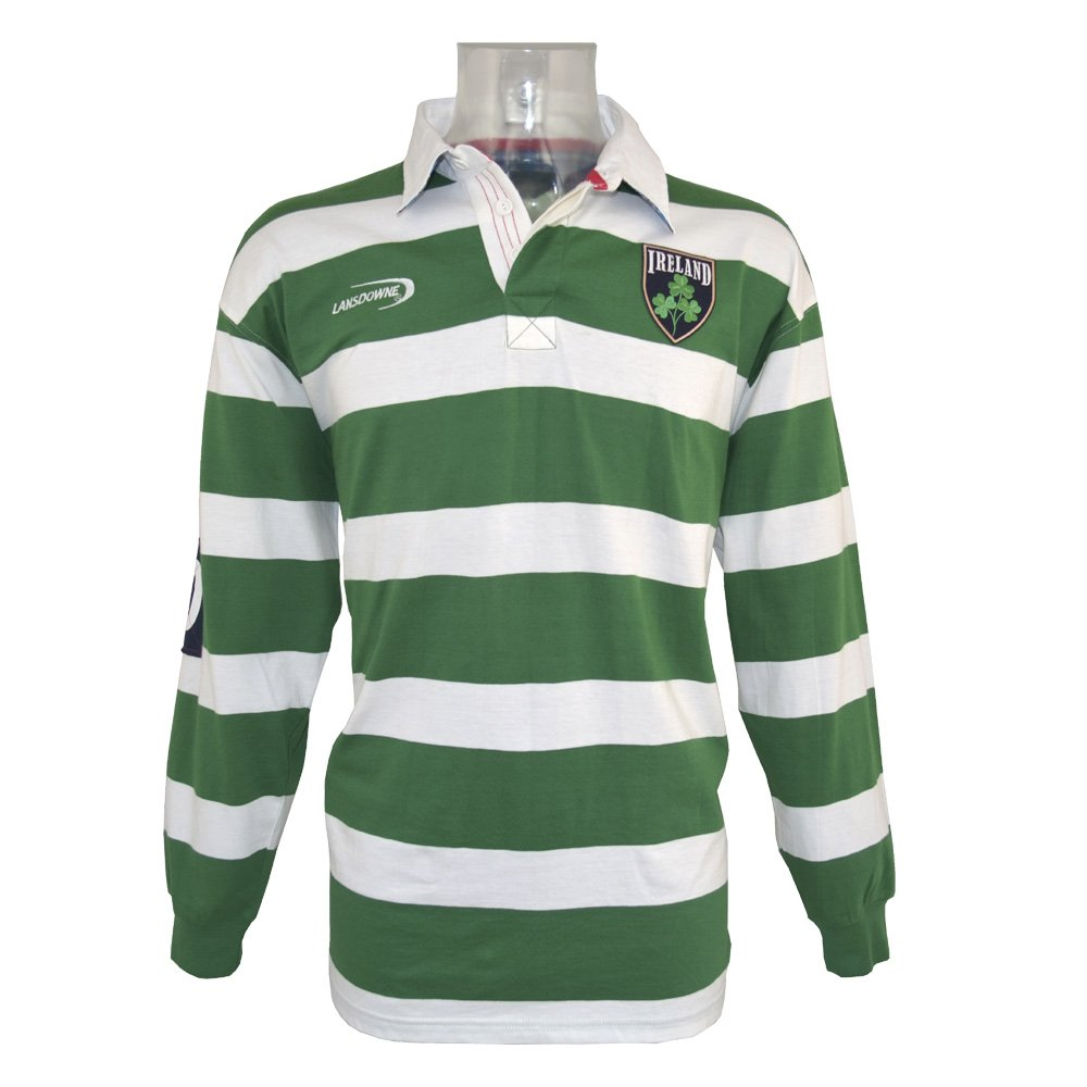 Irish Rugby Shirt Green And White Striped Ireland Rugby