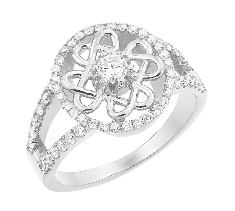 Celtic Wedding Ring - Ladies White Gold Diamond Celtic Knot Engagement Ring