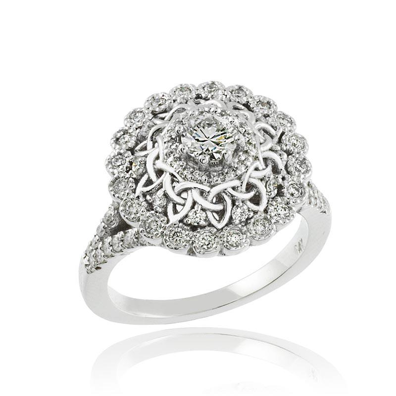 Celtic Ring - 14k White Gold Celtic 1 Ct. Diamond Engagement Ring At IrishShop.com | FADRQKE1006W