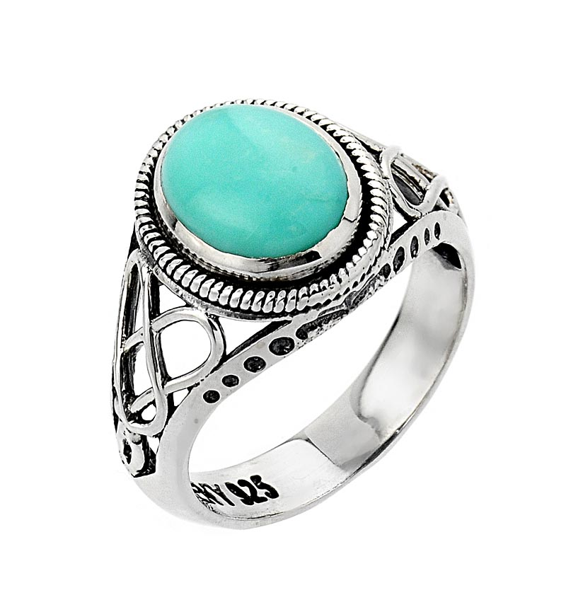 celtic ring white gold knot turquoise ring at