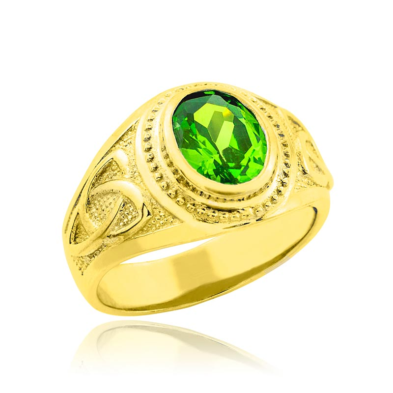 Celtic Ring - Men's Gold Celtic Green Oval CZ Ring