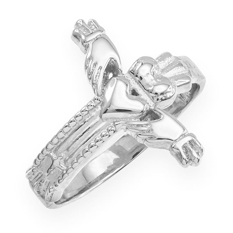 Claddagh Ring - White Gold Classic Claddagh Cross Ring