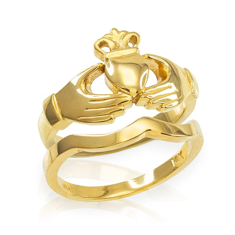 Claddagh Ring - Two-Piece Yellow Gold Claddagh Engagement Ring with Band