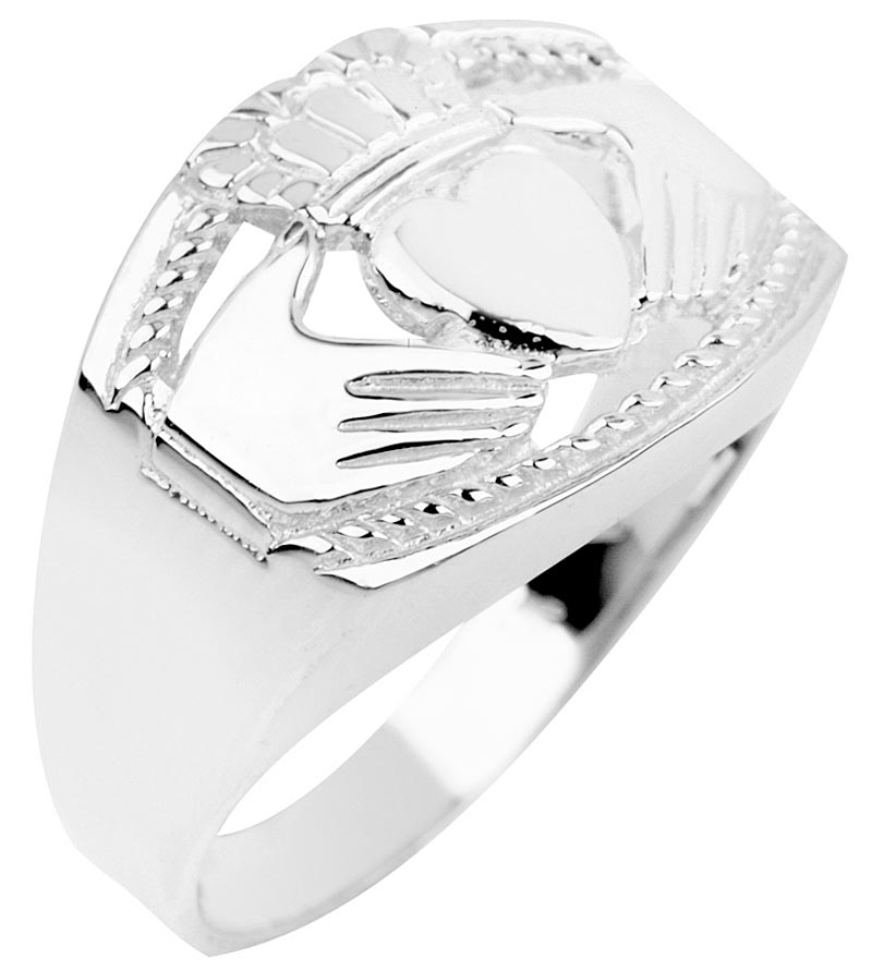 Claddagh Ring - Men's Sterling Silver Claddagh Ring Bold