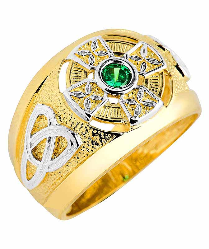 celtic ring two tone gold celtic green emerald cz ring