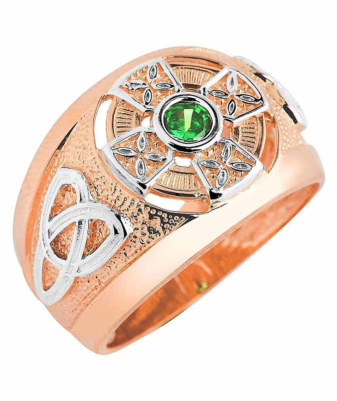 Celtic Ring - Men's Two Tone Rose Gold Celtic Green Emerald CZ Ring