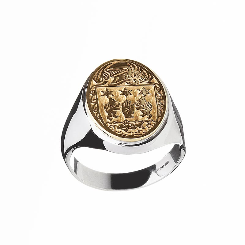 Irish Ring - Coat of Arms Sterling Silver and 10k Gold Mens Heavy Solid Oval Heraldic Ring