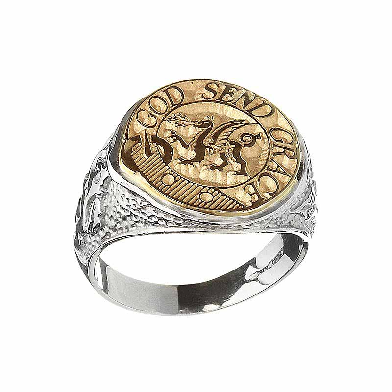 Celtic Ring - Coat of Arms Sterling Sterling Silver and 10k Gold Mens Solid Scottish Clan Ring