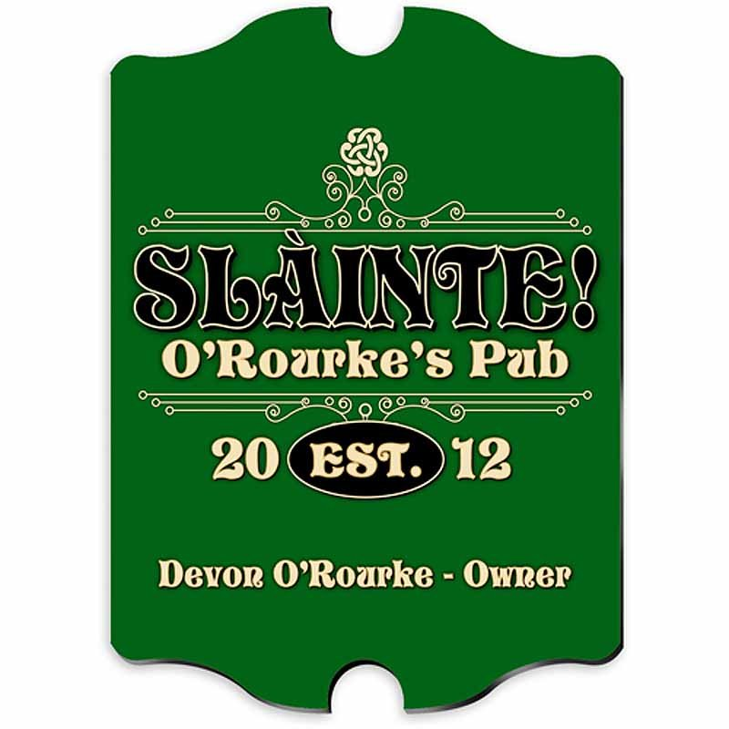 Personalized Vintage Slainte Classic Pub Sign