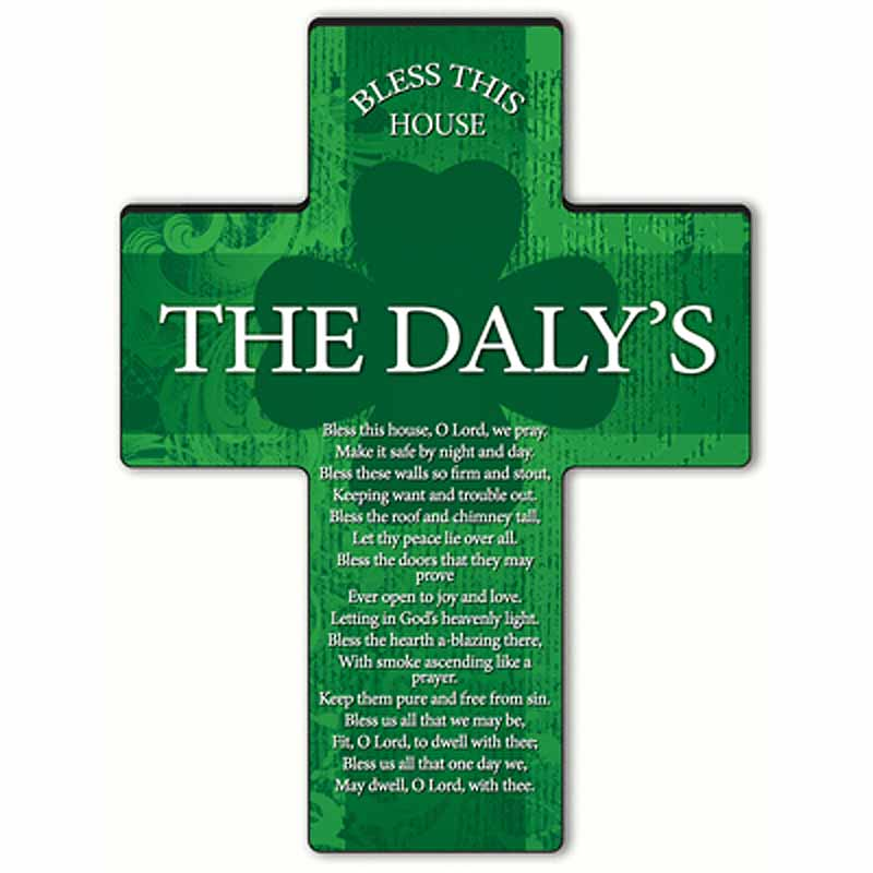 Personalized Irish Blessing Shamrock Cross - Bless This House