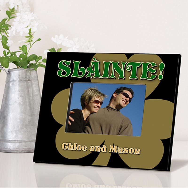 Personalized Irish Picture Frames - Gold shamrock