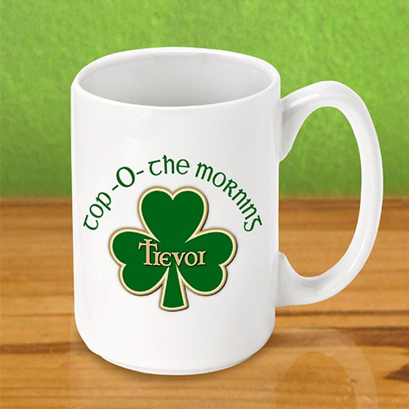 Personalized Irish Coffee Mug - Top O The Morning