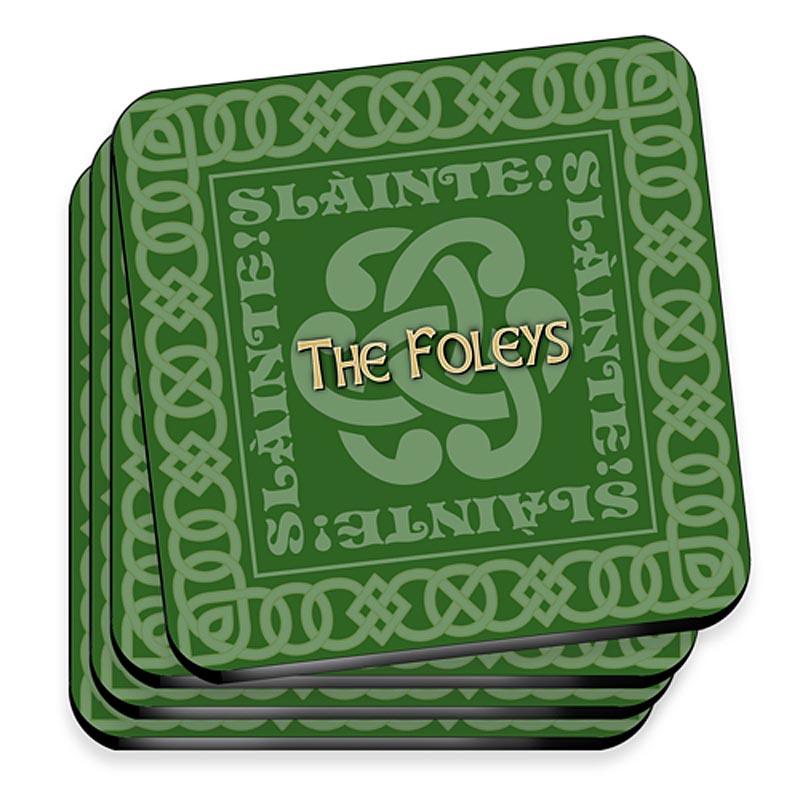 Personalized Irish Family Coaster Set - Celtic Green