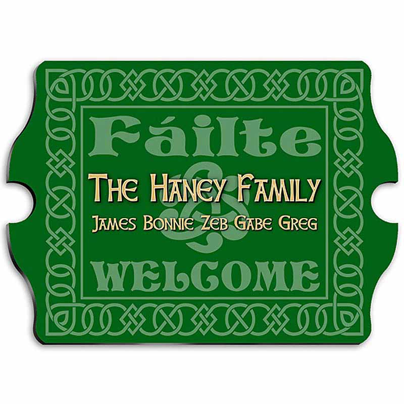 Personalized Vintage Celtic Green Family Sign