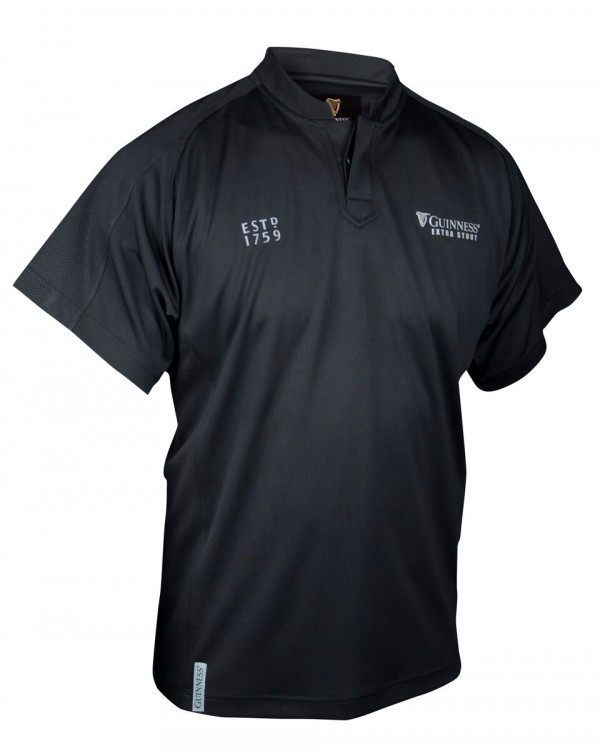 Guinness Black Embossed Print Rugby Shirt