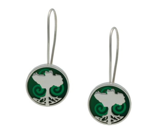 Irish Earrings - Sterling Silver Growing Home Earrings - Green Land