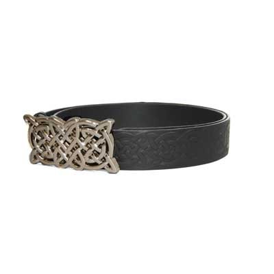 Celtic Knot Design Black Leather Belt