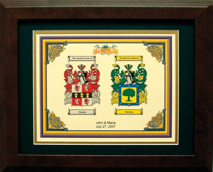 Personalized 11 x 14 Coat of Arms Anniversary Matted & Framed Print
