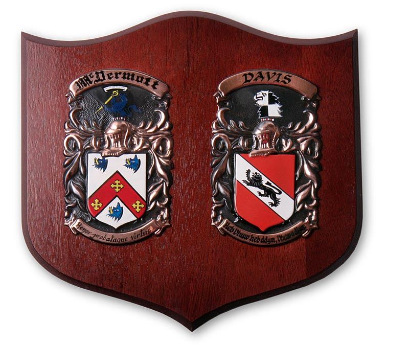 Personalized Double Coat of Arms Shield Plaque