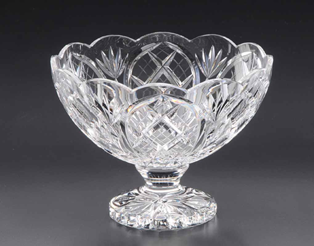 Irish Crystal - Heritage Irish Crystal 8 inch Cathedral Compote Scalloped Bowl