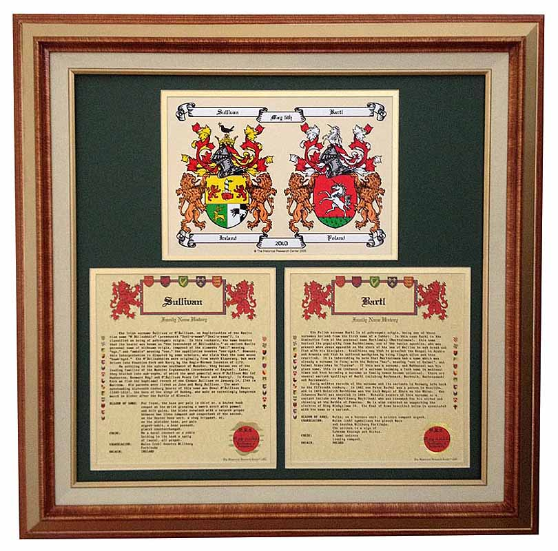 Personalized Irish Coat of Arms Anniversary Collection - Framed Double Coat of Arms with Two Family Name Histories