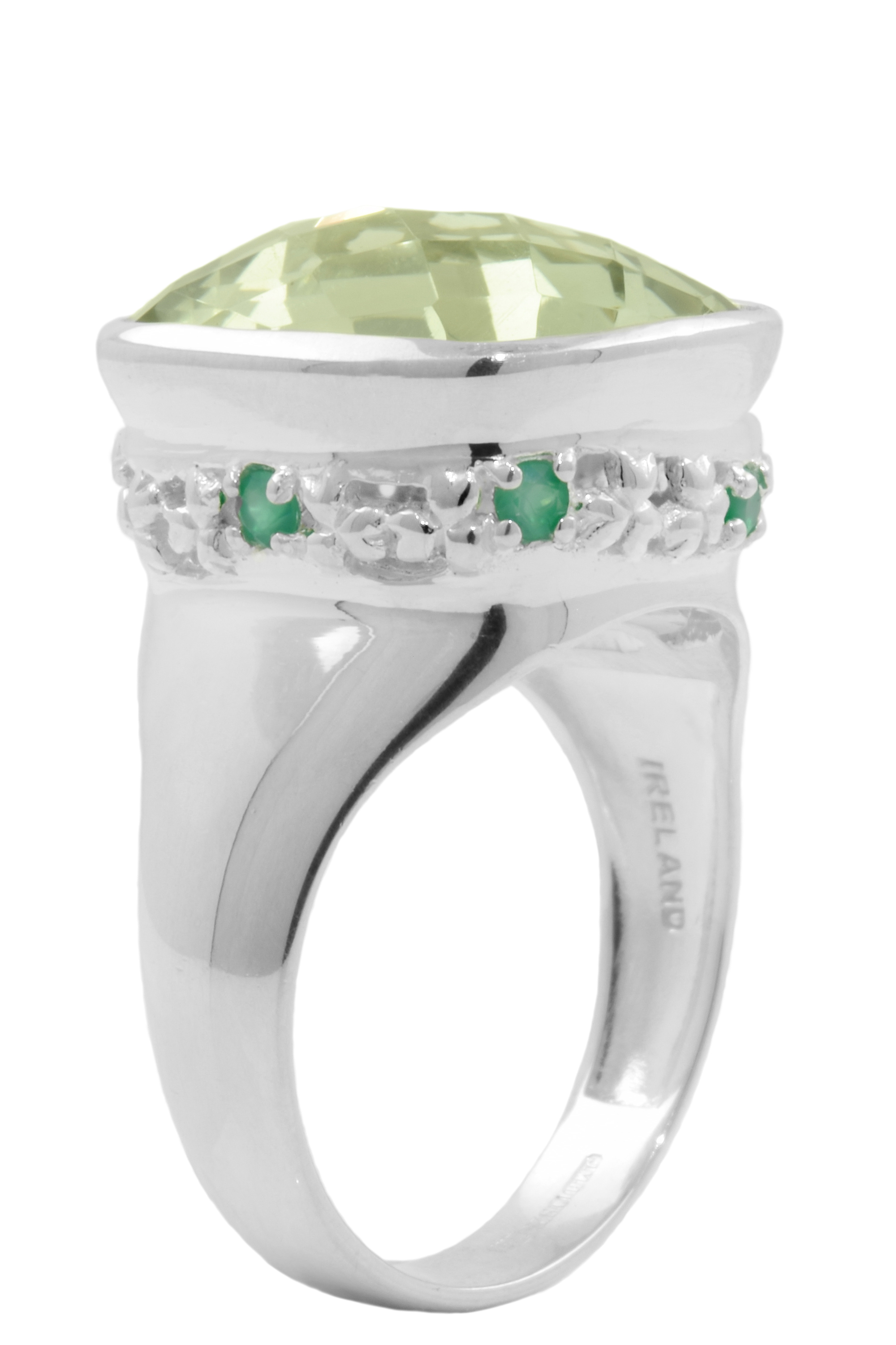 Shamrock Ring - Green Amethyst and Green Agate Shamrock Ring