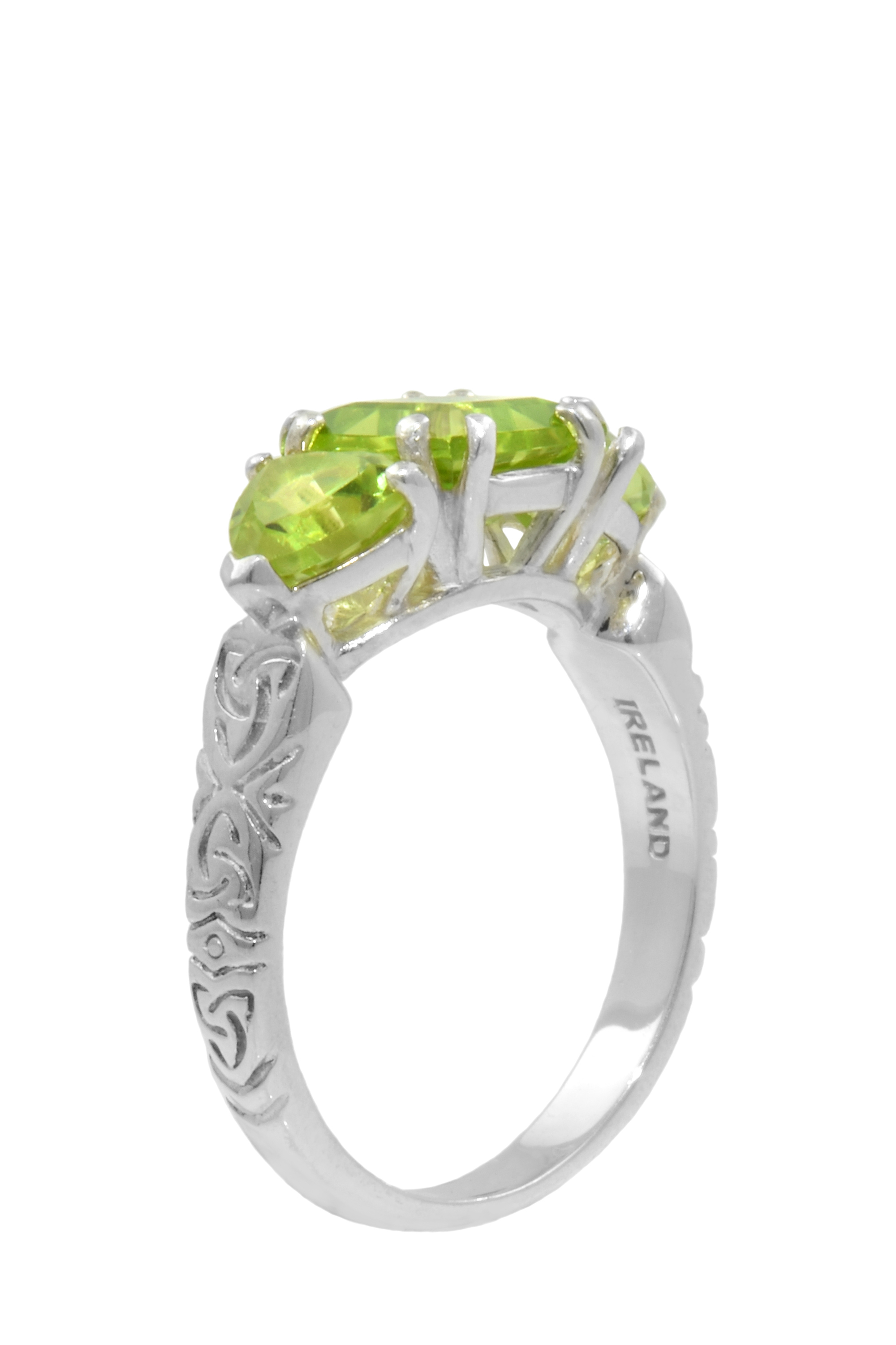 Celtic Ring - Three Stone Peridot with Celtic Knotwork Ring
