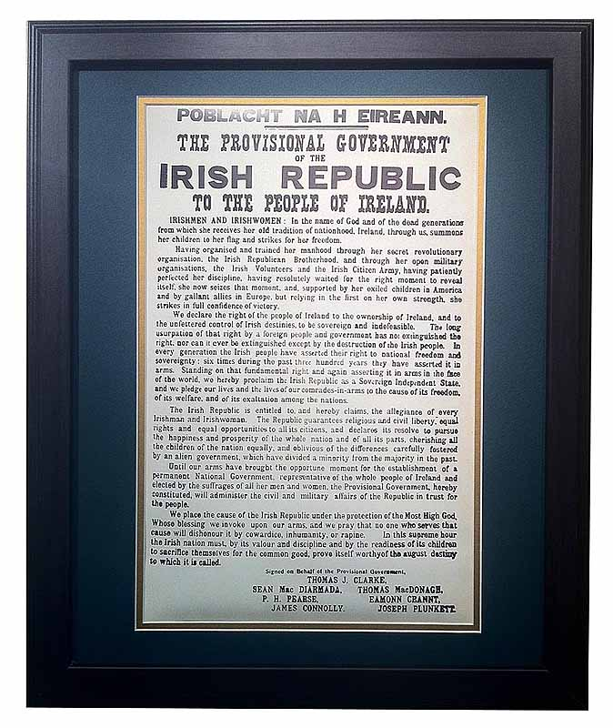 Irish Proclamation of Independence - Matted and Framed Print