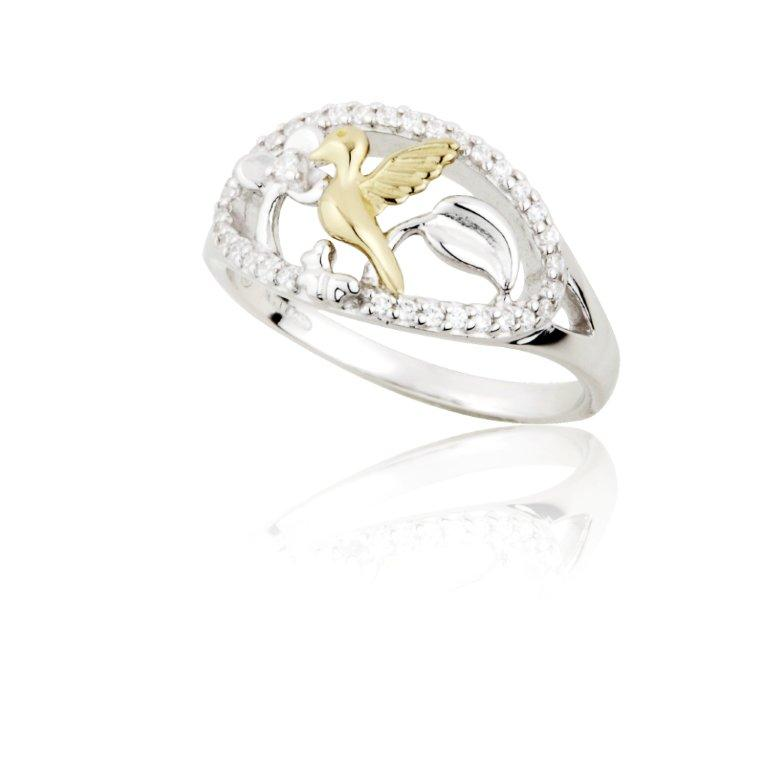 Jean Butler Jewelry - Sterling Silver CZ Celtic Vine & 18k Yellow Gold Plated Bird Irish Ring