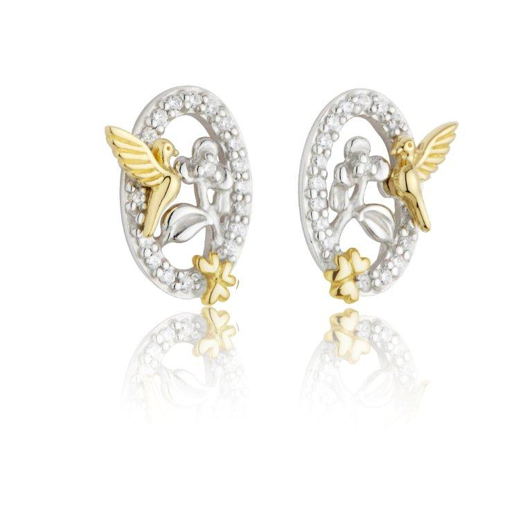 Jean Butler Jewelry - Sterling Silver CZ Celtic Vine & 18k Yellow Gold Plated Bird Stud Irish Earrings