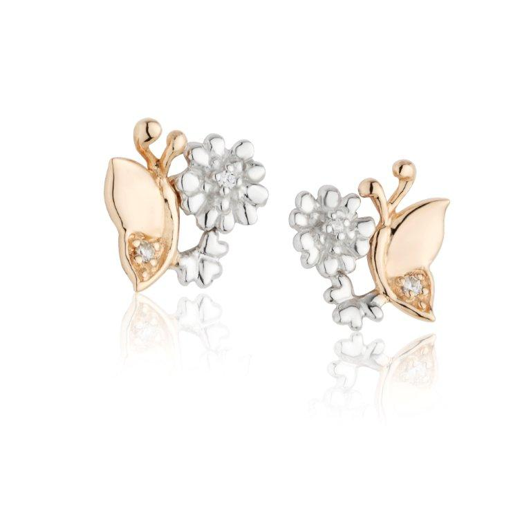 Jean Butler Jewelry - Sterling Silver Primrose & Butterfly 18k Rose Gold Plated Stud Irish Earrings