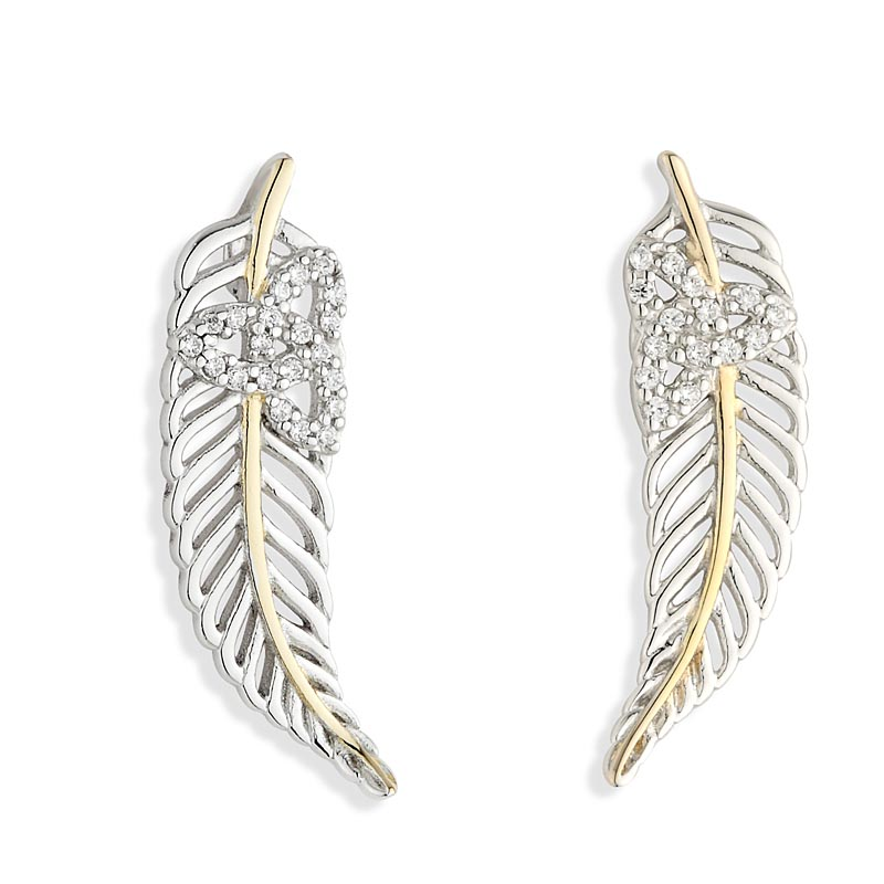 Jean Butler Jewelry - Sterling Silver with 18k Yellow Gold Plate Vein Feather CZ Trinity Knot Irish Earrings