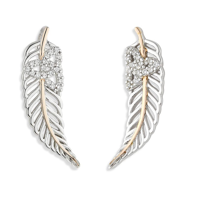 57a46344e Jean Butler Jewelry - Sterling Silver with 18k Rose Gold Plate Vein Feather  CZ Trinity Knot