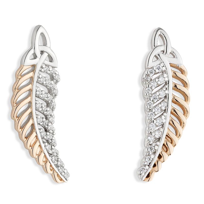 Jean Butler Jewelry - Sterling Silver with 18k Rose Gold Plate CZ Feather Trinity Knot Irish Earrings