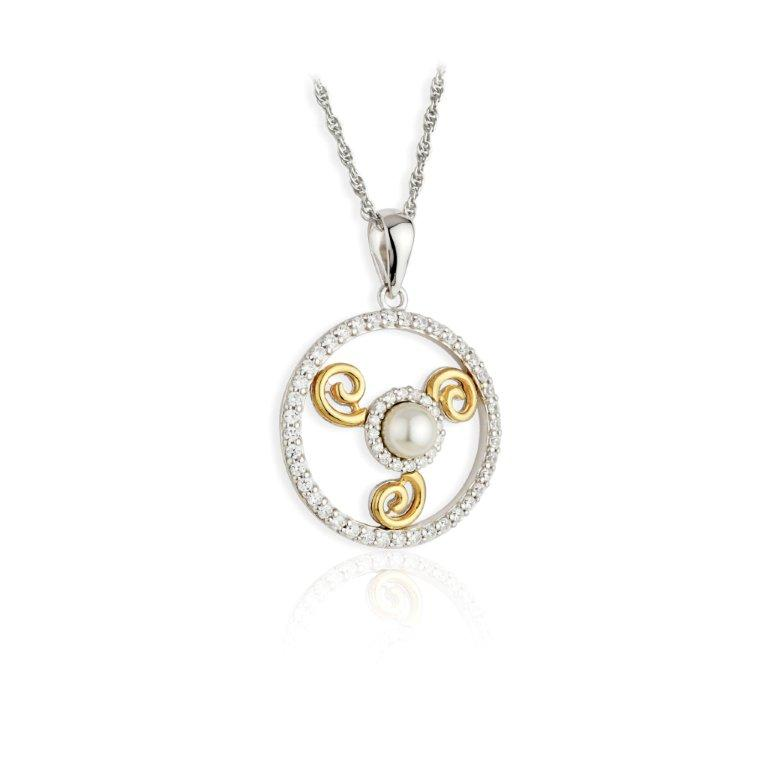 Jean Butler Jewelry - Sterling Silver CZ & Pearl  18k Yellow Gold Plate Triskele Irish Pendant