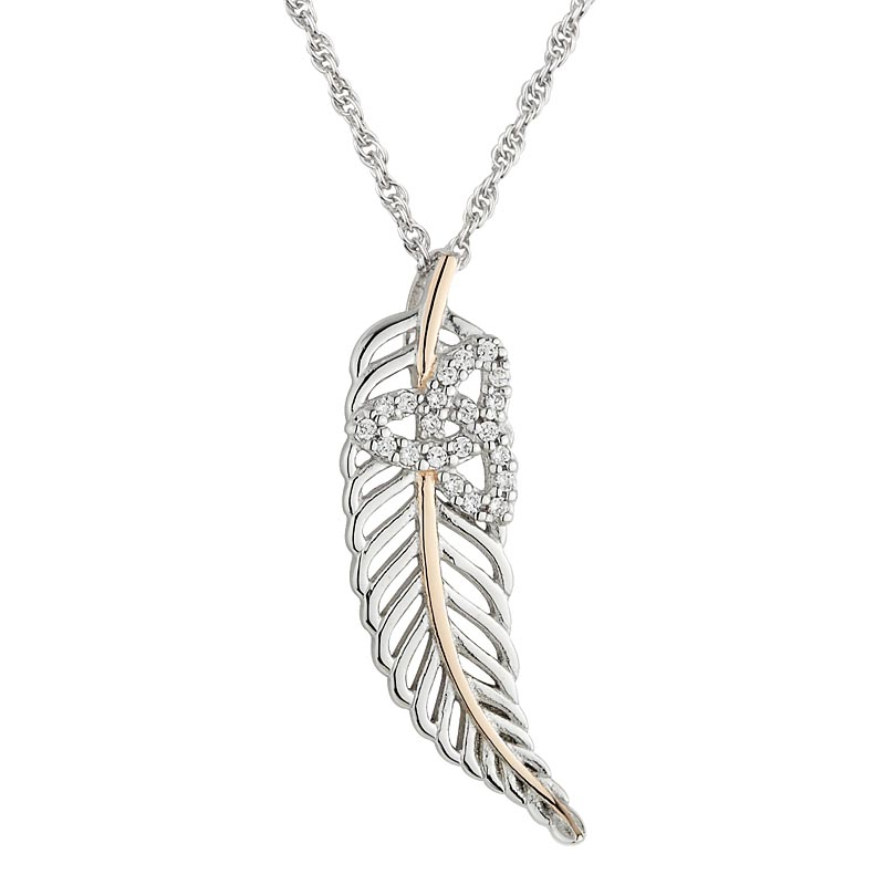 Jean Butler Jewelry - Sterling Silver with 18k Rose Gold Plate Vein Feather CZ Trinity Knot Irish Pendant