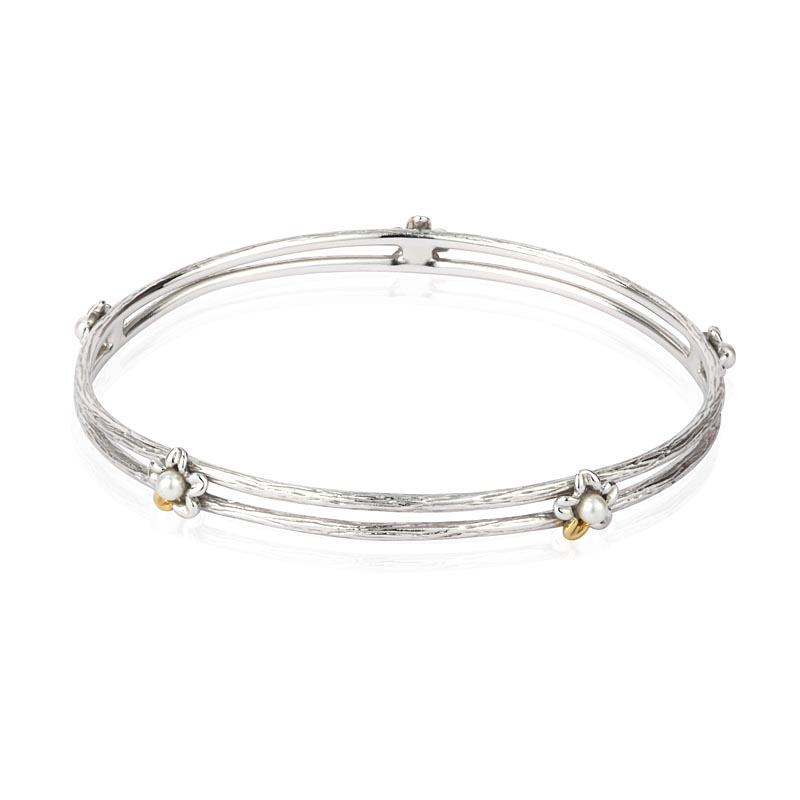 Jean Butler Jewelry Irish Bangle - Sterling Silver Irish Primrose and Pearl Two Tone Irish Bracelet