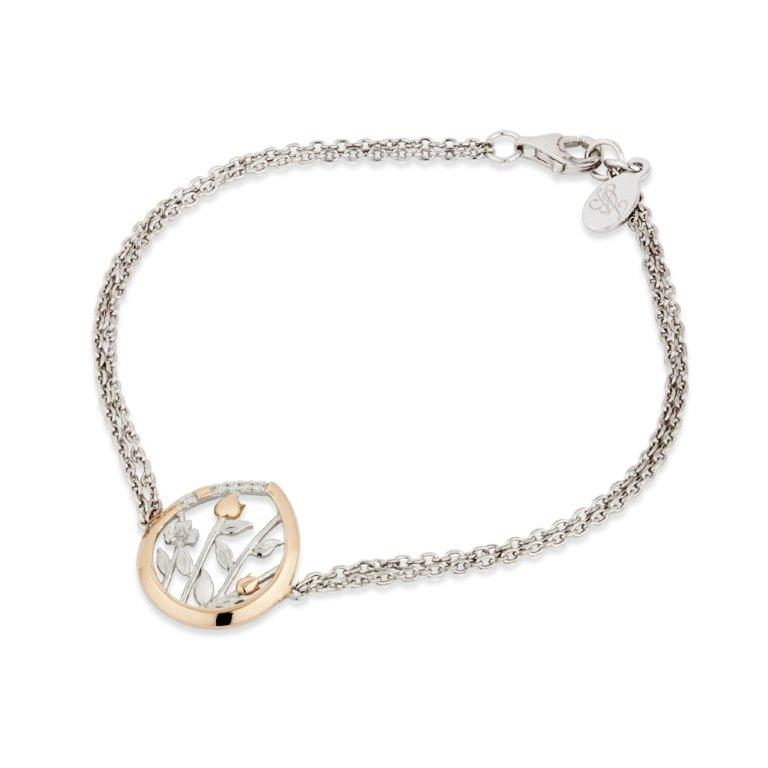 Jean Butler Jewelry - Sterling Silver 18k Rose Gold Plated Meadows Irish Bracelet With CZ