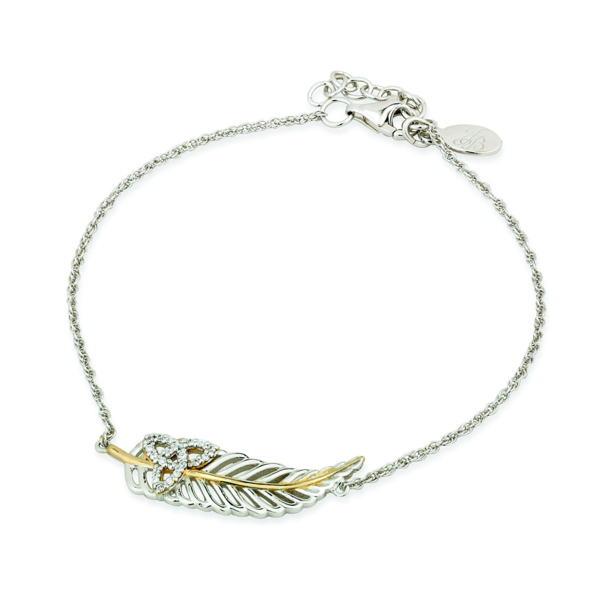 Jean Butler Jewelry - Sterling Silver with 18k Yellow Gold Plate CZ Trinity Knot Irish Bracelet