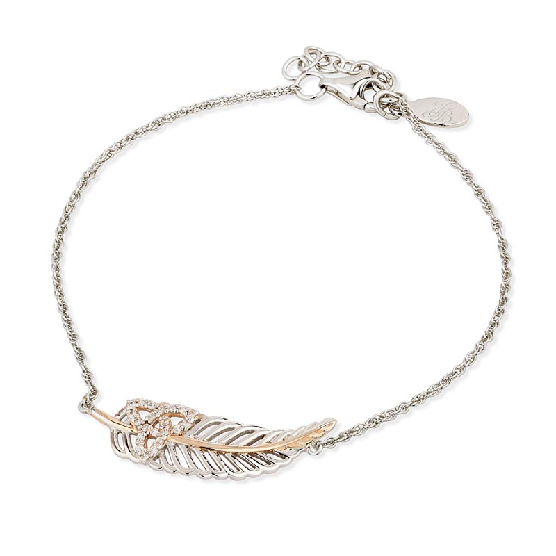 Jean Butler Jewelry - Sterling Silver with 18k Rose Gold Plate CZ Trinity Knot Irish Bracelet