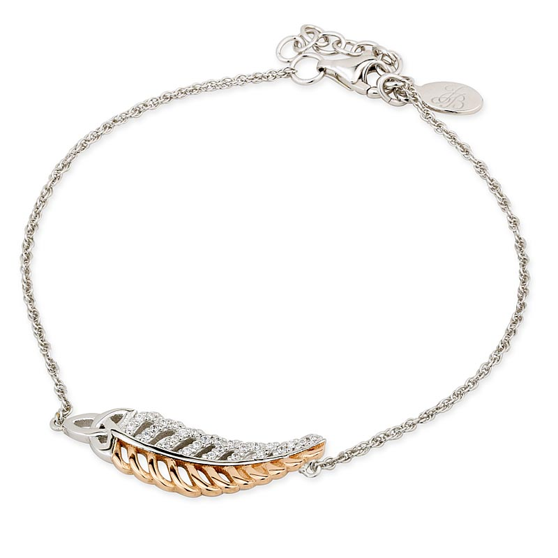 Jean Butler Jewelry - Sterling Silver with 18k Rose Gold Plate CZ Feather Trinity Knot Irish Bracelet