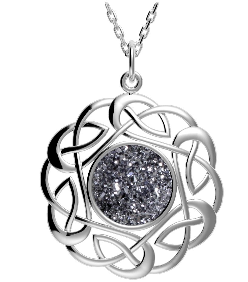Celtic Necklace - Sterling Silver Round Celtic Knot Black Drusy Pendant
