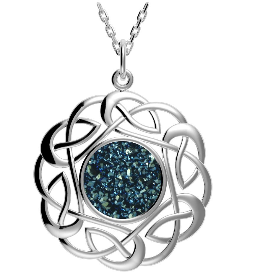 Celtic necklace sterling silver round celtic knot drusy pendant celtic necklace sterling silver round celtic knot drusy pendant blue mozeypictures Gallery