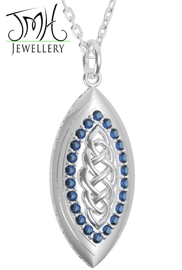 Irish Necklace - Sterling Silver with Blue CZ Stones Marquise Celtic Pendant