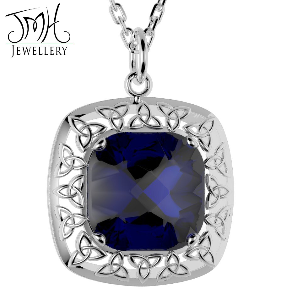 Irish Necklace - Sterling Silver Blue Quartz Trinity Knot Pendant