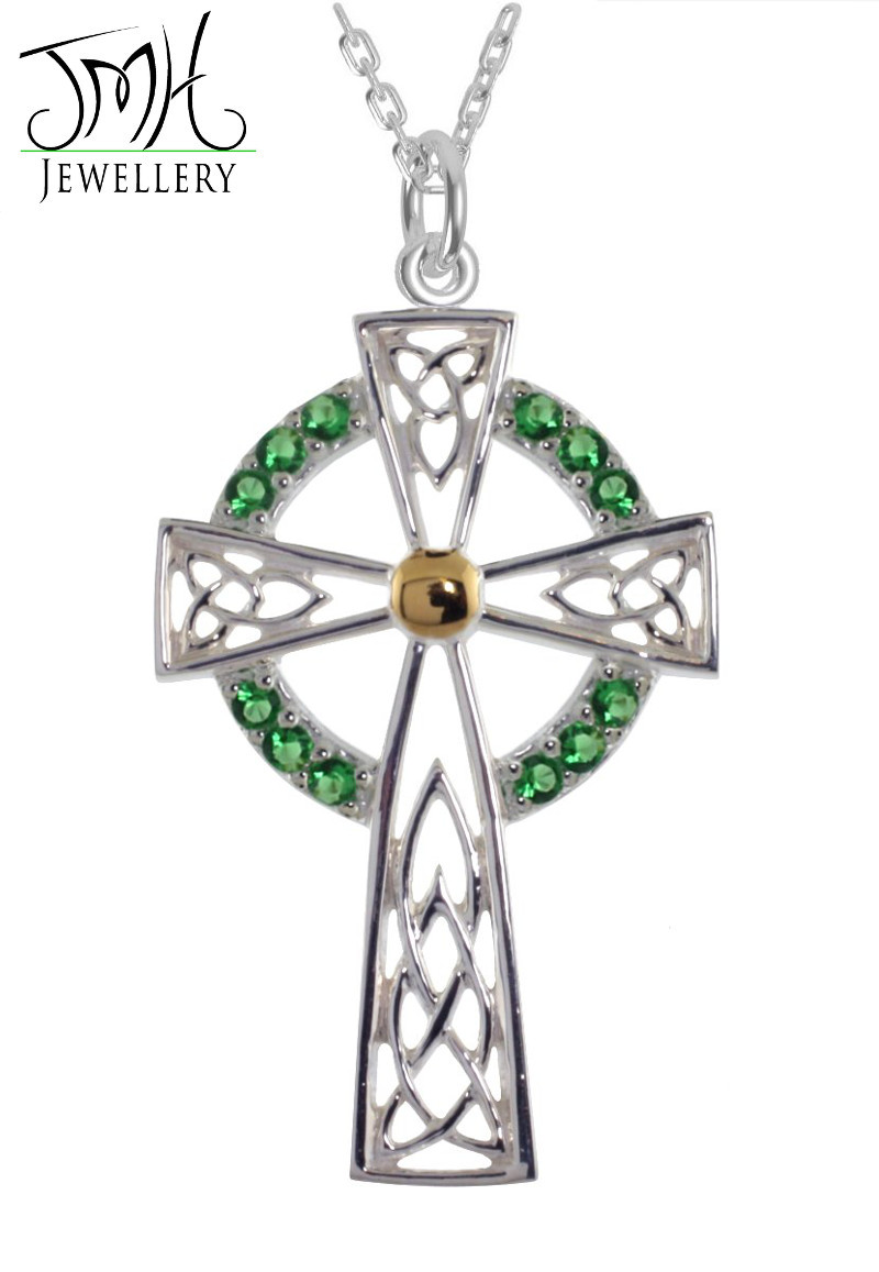 Irish Necklaces - Sterling Silver with Green CZ Stones High Cross Celtic Pendant